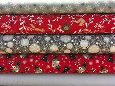 Fat Quarters Bundles Christmas 100% Cotton Fabric Silver Gold Red Festive Fox F9
