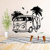 VW Camper Van Wall Art Decal Vinyl Sticker Decor Mural Transfer Surf Beach Love