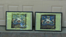 pair antique chinese silk embroidery gold treads  crane,symbols,bats rank badges