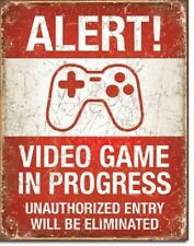 Alert Video Game In Progress Man Cave Nerd Funny Retro Wall Decor Metal Tin Sign