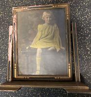 Antique Vintage Wood Ornate Art Deco Pedestal Swing Tilt Picture Photo Frame Pho