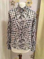 TOPSHOP WHITE, BLACK & GREY TILED DESIGN BLOUSE WITH GOLD COLLAR TIPS - UK 8