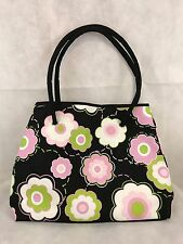 Leenie American Studio Large Black Tote Bag With Colorful Flowers Shopping Tote