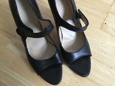 8d6d967d0ca0 Black Leather Hobbs Single Strap Shoes Kitten Heel UK Size 6.5 EU 39.5