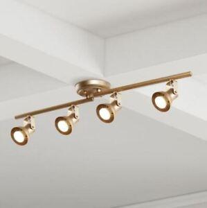 LALUZ Modern Gold LED Track Lighting 2.4 ft. 4-Light Ceiling Track Lighting Kit
