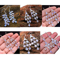Natural Rainbow Moonstone 925 Sterling Silver Jewelry Dangle Earrings- av0004