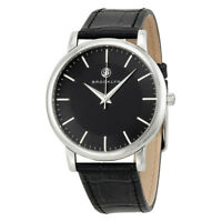 Brooklyn Watch Co. Myrtle Black Dial Black Leather Swiss Quartz Men's Watch