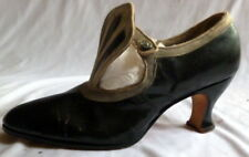 Original Antique 1910s Black & Grey Leather Heals Shoes Size 5