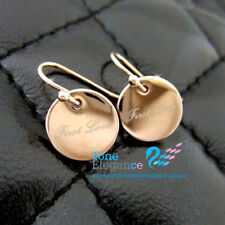 9ct 9k gold GF hoop dangle circle solid wedding earrings first love  #BO01
