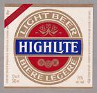 Highlite Light Beer Label - Carling O'Keefe
