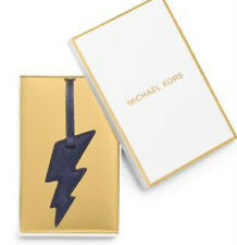 MICHAEL KORS Large Lightning Bolt Metallic Saffiano Leather Keychain - Navy