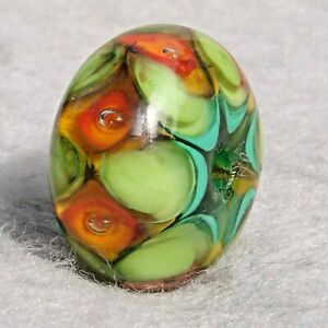 HARLEQUIN #2 Handmade Art Glass Focal Bead Flaming Fools Lampwork Art Glass SRA
