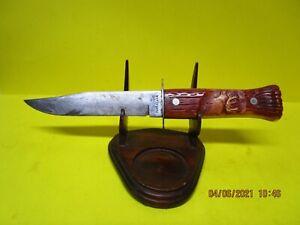 "Vintage 9"" Imperial USA Carved ELK Handle Fixed Blade Hunting Knife"