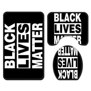 BLACK LIVES MATTER Bathroom Rug Set Shower Curtain Toilet Lid Cover Bath Mat