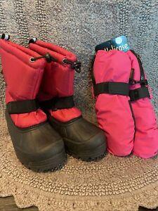 Northside Snow Boots & Mitten Set Girls Size 1 Pink