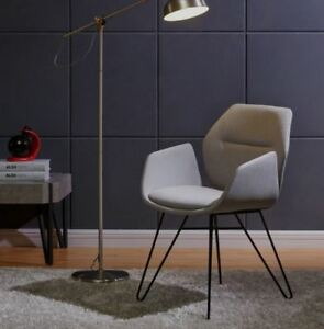 """""""Zane"""" Accent Chair Modern Fabric Upholstered Eiffel Style Metal Legs 2 Colours"""