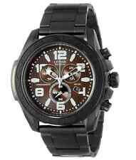 NWT Men's Citizen AT2275-56X Eco-Drive Black Stainless Steel Brown Dial Watch