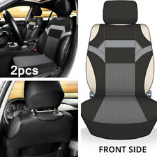 2x T-shirt Design Car Front Seat Protector Universal Cover Pad 2-Pack Black/Gray