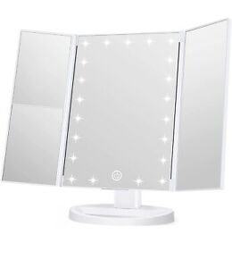 Led Lighted Makeup Mirror with Magnifying Side Mirror, Touch Screen, Dimmable