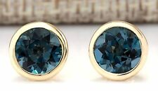 3.00CTW NATURAL LONDON BLUE TOPAZ EARRINGS 14K SOLID YELLOW GOLD