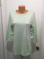 Jones New York Sport Womens  Knit Top  3/4 Sleeve Pastel Green Cotton XL  NEW