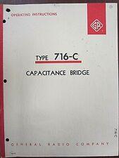 General Radio Type 716 C Capacitance Bridge Operating Instructions Form 681 K