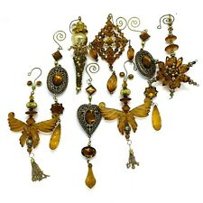 Acrylic Amber Jewels Gold Bead Victorian style Christmas Ornament Decoration Lot