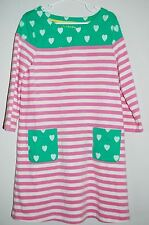 Mini Boden Dress Girl's Size 7-8 - pink & white stripe with Green and hearts