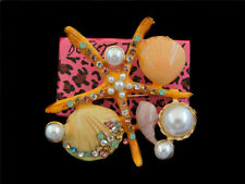 Pearl Charm Women's Brooch Pin Betsey Johnson Enamel Crystal Starfish Shell