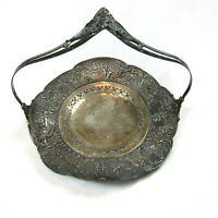 Antique 1910s Silverplate Repousse Cake Basket Sheffield USA Weidlich Bros Mfg