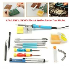17in1 Electric Soldering Tools Kit Set Iron Stand Desoldering Pump 30W 110V