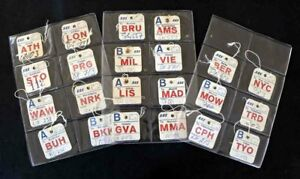SAS Scandinavian Airlines Collection of 22 x Baggage ID-Tags  Vintage 1960s