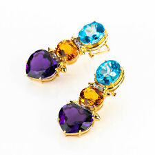 Earrings (14k gold) with various gemstones