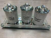 CRYSTAL FILLED TRAY FOR TEA COFFEE SUGAR DIAMOND CRUSHED JARS CANISTERS STORAGE