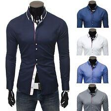 Unifarbene Herren-Freizeithemden aus Baumwollmischung mit Button-Down-Kragen