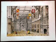 Stampa antica AUDLEY END CASTLE Essex bambini bandiere 1869 Old antique print