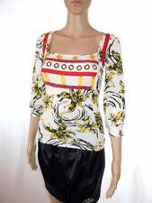 Womens Vtg Square Neck 3/4 Sleeve Ethnic Embellish Floral Hippy Blouse sz S AE38