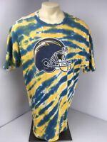 Vintage 80s 90s Champion SD/LA CHARGERS Retro Old School Tie-Dye NFL T-shirt 2XL