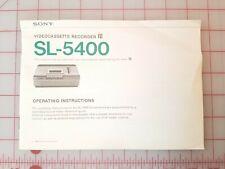 Sony SL-5400 Betamax VCR Operating Instructions