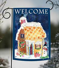 Toland Gingerbread Welcome 12.5 x 18 Christmas Winter Snowman Candy Garden Flag