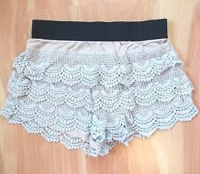 Layered Lace Short Shorts Sz S Stretch Wide Elastic Pants Crochet Frilled Umgee