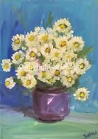 Print of Original oil painting art daisies Impressionism shabby chic home decor