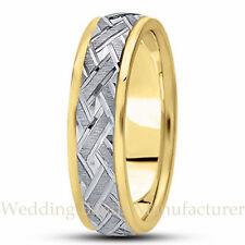 14k Two Tone White Yellow  Gold Wedding Band Men Wave Cuts Pattern Ring 6mm