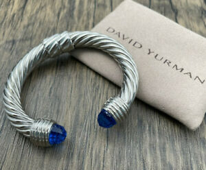 DAVID YURMAN 10MM open cable bracelet topa stone with sterling silver