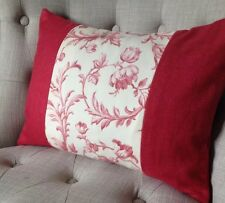 """Panelled 12x16"""" cushion cover in Laura Ashley Ironwork scroll Cranberry & Bacall"""