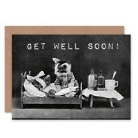 Get Well Soon Little Folk Of Animals Cat Blank Greeting Card With Envelope