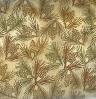 Wilderness pine cones tan Clothworks flannel fabric