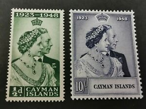 Cayman Islands KGVI 1948 Silver Wedding Mint Set of 2. SG129-130. Cat £24.10