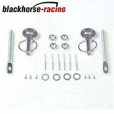 Mount Bonnet Hood Pin Lock Latch Kit Universal Racing Sport Car Alloy Siliver