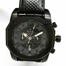 Bulova Men's Watch Marine Star Chronograph Black Dial Leather Strap NWT